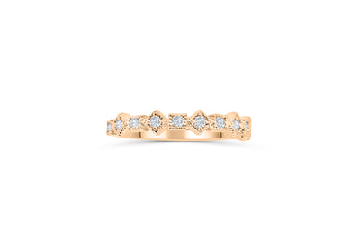 Milgrain Diamond Wedding Band 0.26 ct tw Round-cut 14K Rose Gold BAN019 - NorthandSouthJewelry