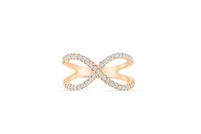 X Cross Diamond Anniversary Ring 0 51 ct tw Round-cut 14K Rose Gold BAN023