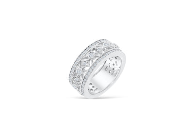 Diamond Anniversary Band 1.08 ct tw Round-cut 14K White Gold BAN027 - NorthandSouthJewelry