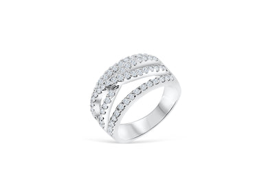 Wide Diamond Anniversary Band 0.99 ct tw Round-cut 14K White Gold BAN030 - NorthandSouthJewelry