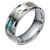 8mm Tungsten-Carbide Polished Finish Beveled w/ Green Abalone Inlay