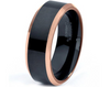 8MM Black Tungsten Carbide Matte Finish w/ Copper Polished Beveled Edge