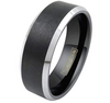 8MM Black Tungsten Carbide Matte Finish w/ Silver Polished Beveled Edge
