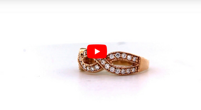 Criss-Cross Diamond Anniversary Band 0.37 ct tw Round-cut 14K Rose Gold BAN047 - NorthandSouthJewelry