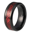 8mm Tungsten-Carbide Carbon Fiber Red Black Celtic Dragon