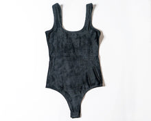 Black Ribbed Velvet Bodysuit