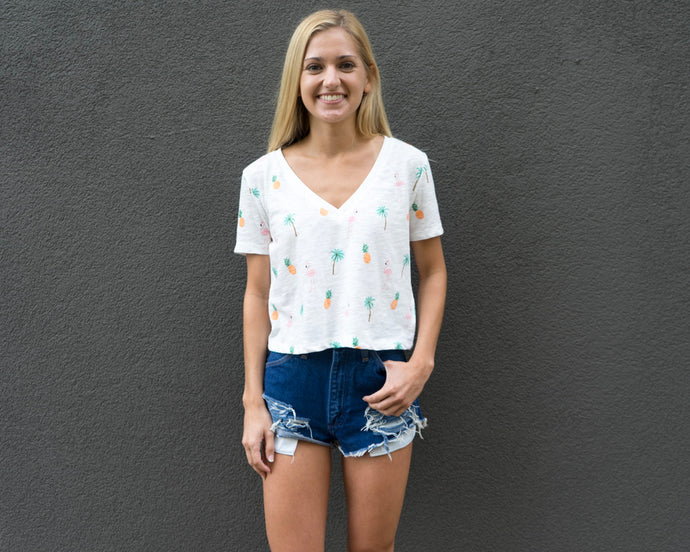 Flocked Crop Top