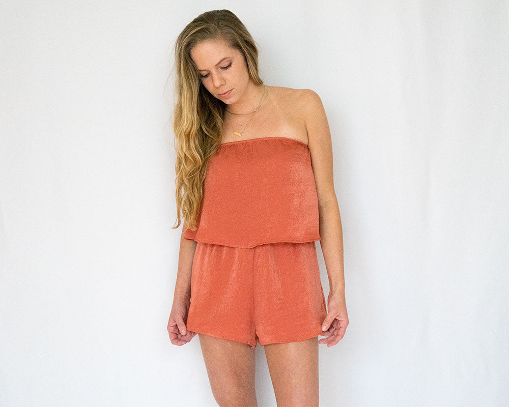 Ruffle Top Rust Orange Romper