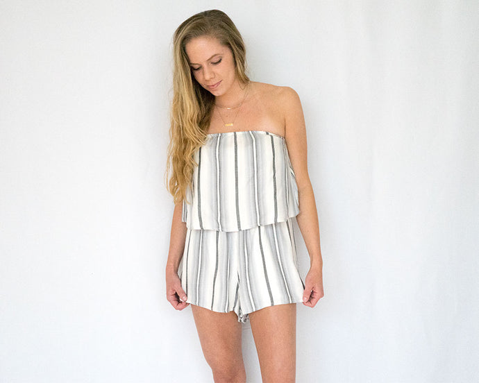 Ruffle Top Grey Stripe Romper