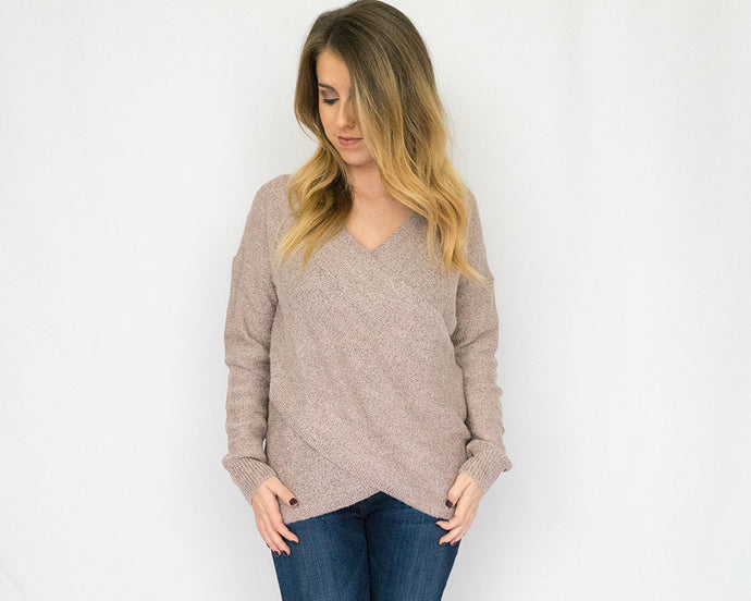 Mauve Overlap Sweater