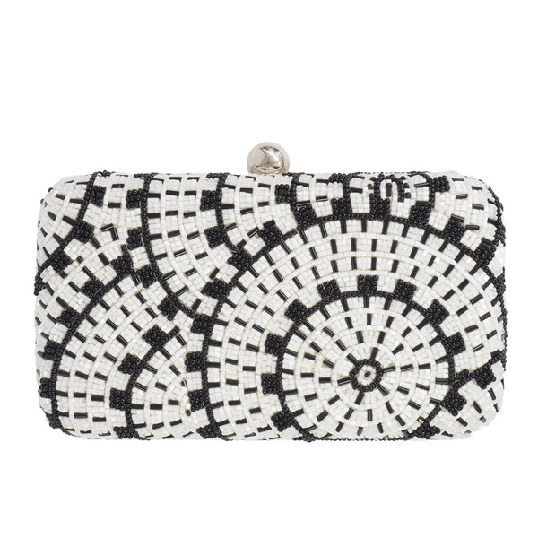 Alice Box Clutch Black/White-From St Xavier