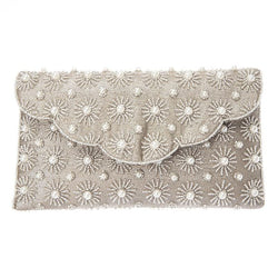 Arabella Clutch Silver-From St Xavier