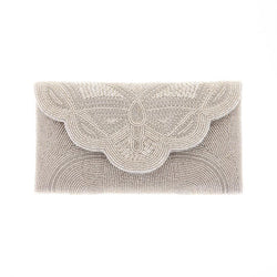Barbara Clutch Silver-From St Xavier