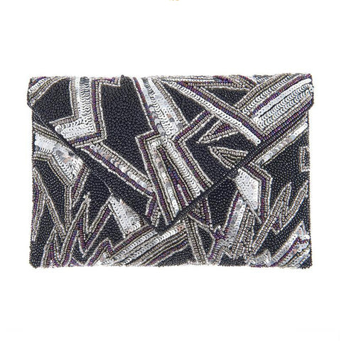 Bowie II Clutch Black Silver-From St Xavier