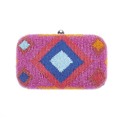 Dakota Box Clutch Orange Blue-From St Xavier
