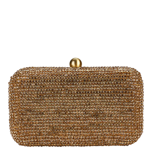 Diamante Box Clutch Gold