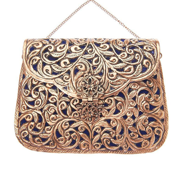 Ezra Bag Rose Gold/Blue-From St Xavier