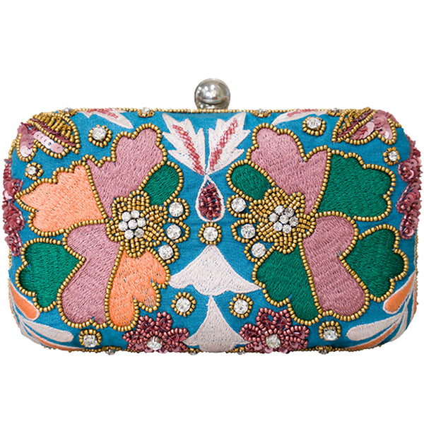 Kaleidoscope Box Clutch Teal-From St Xavier