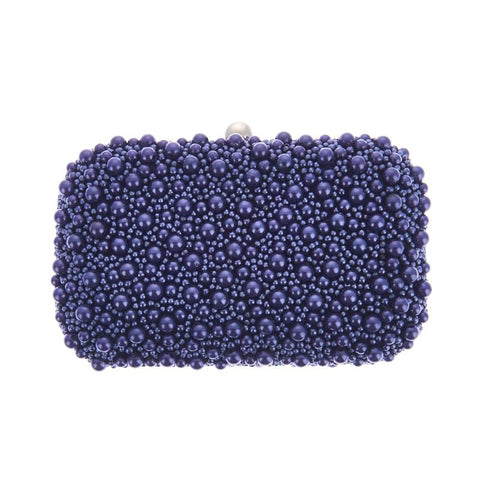 Marcela Box Clutch Navy-From St Xavier
