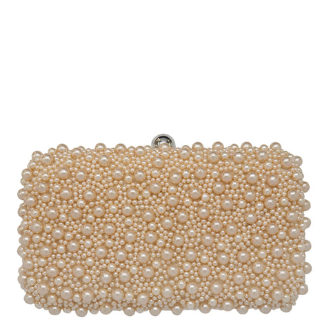 Marcela Pearl Box Clutch Champagne