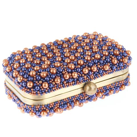 Marcela Box Clutch Navy Copper-From St Xavier