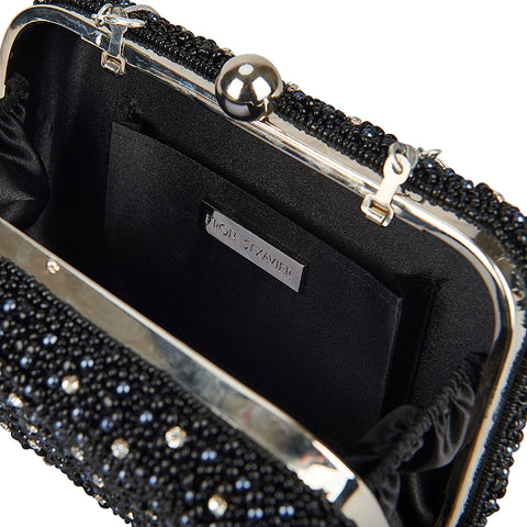 Mini Pearl Box Clutch Black