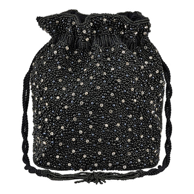 Mini Pearl Drawstring Black/Silver-From St Xavier