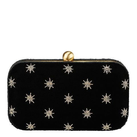 North Star Box Clutch Black/Gold-From St Xavier