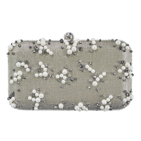 Rayne Box Clutch Silver-From St Xavier