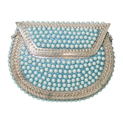 Pearl Metal Bag Silver/Blue-From St Xavier