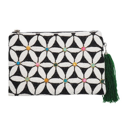 Sabrina Zip Clutch Black/White-From St Xavier
