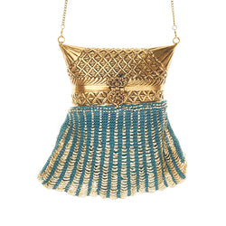 Savita Bag Teal Gold-From St Xavier