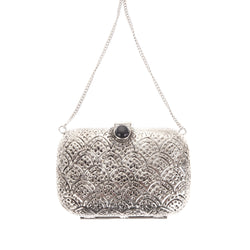 Tasha Clutch Silver-From St Xavier