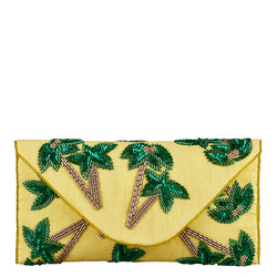 Tropica Palm Envelope Clutch Yellow-From St Xavier