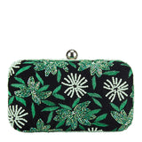 Velvet Flower Box Clutch Green/Silver-From St Xavier