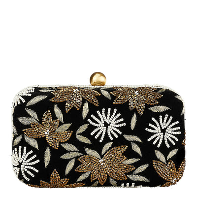 Velvet Flower Box Clutch Black/Gold-From St Xavier