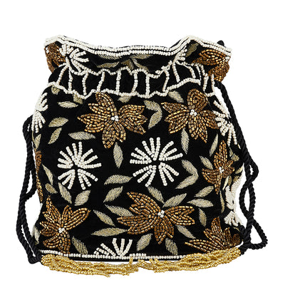 Velvet Flower Drawstring Black/Gold-From St Xavier