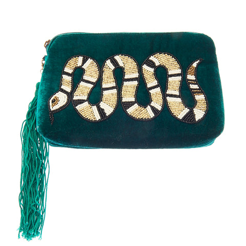 Venom Pouch Clutch Emerald-From St Xavier