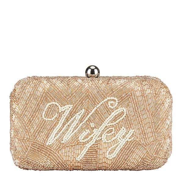 Wifey Box Clutch Champagne-From St Xavier