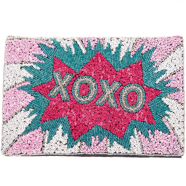 XOXO Foldover Clutch Pink/Blue-From St Xavier