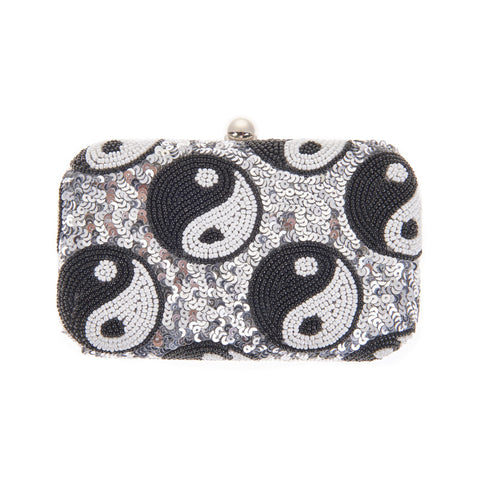 Yang Box Clutch in Silver-From St Xavier