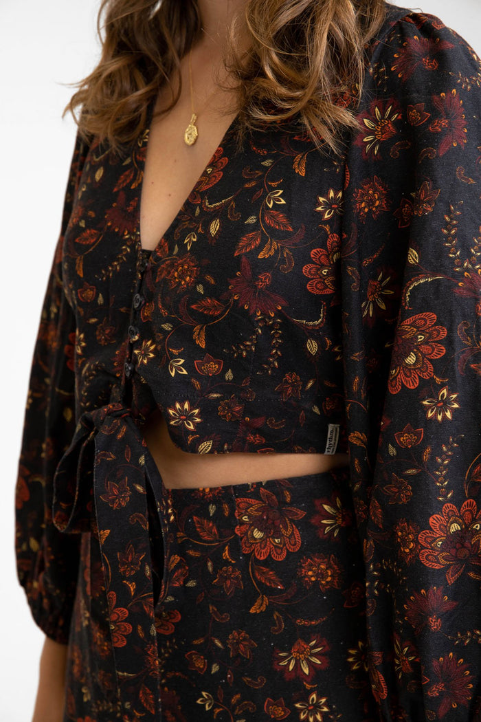 Rhythm Toluca Tie Front Long Sleeve Top