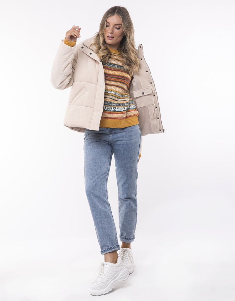 All About Eve Cali Cord Puffer - Vintage White
