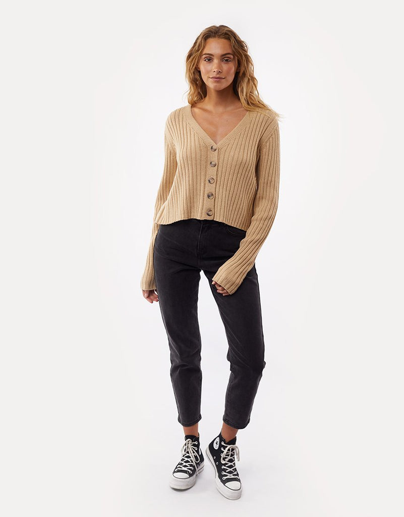 All About Eve Ribbed Cropped Cardi - Cream