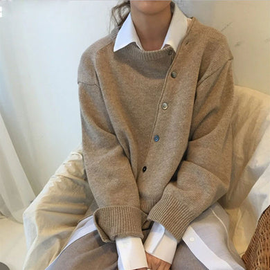 Vintage Irregular Long Sleeve Knit Cardigans Sweater