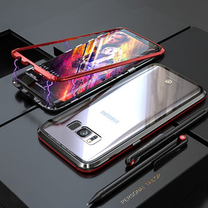 Phone Case - Metal Built-in Magnetic Adsorption + Transparent Glass Back Cover For Samsung Note9 Note8 S9 S9 Plus S8 S8 Plus S7 S7 Edge