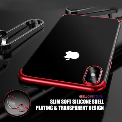 Phone Case - Luxury Plating Transparent Silicone Case For iPhone X 8 7 6 6S Plus