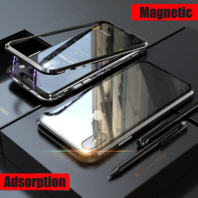 Phone Case - Metal Built-in Magnets Bumper + Glass Back Cover For iPhone X 8 7 Plus