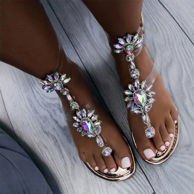 2018 New Summer Ladies Fashion Rhinestones Glitter Flat Sandals