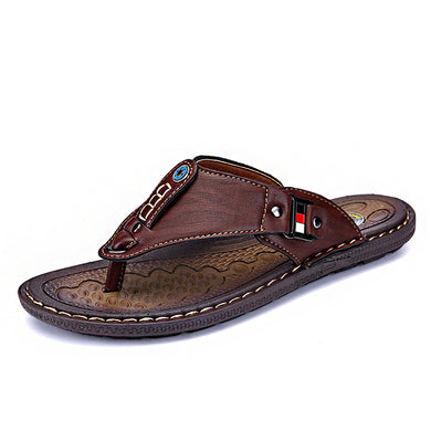 Men's Shoes - Summer Beach Flip Flops Leather Slippers